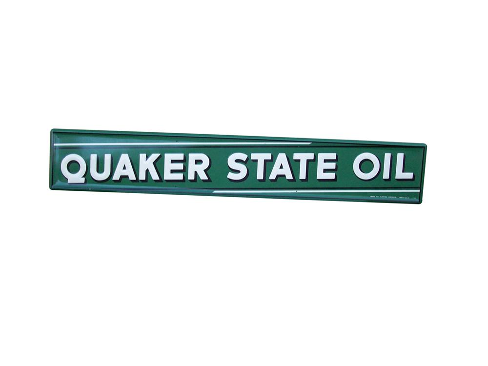 N.O.S. 1955 Quaker State Motor Oil single-sided tin painted horizontal garage sign. - Front 3/4 - 97998