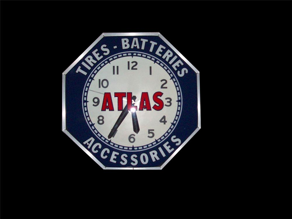 Sharp 1930s-40s Atlas Tires, Batteries and Accessories neon station clock. - Front 3/4 - 97999