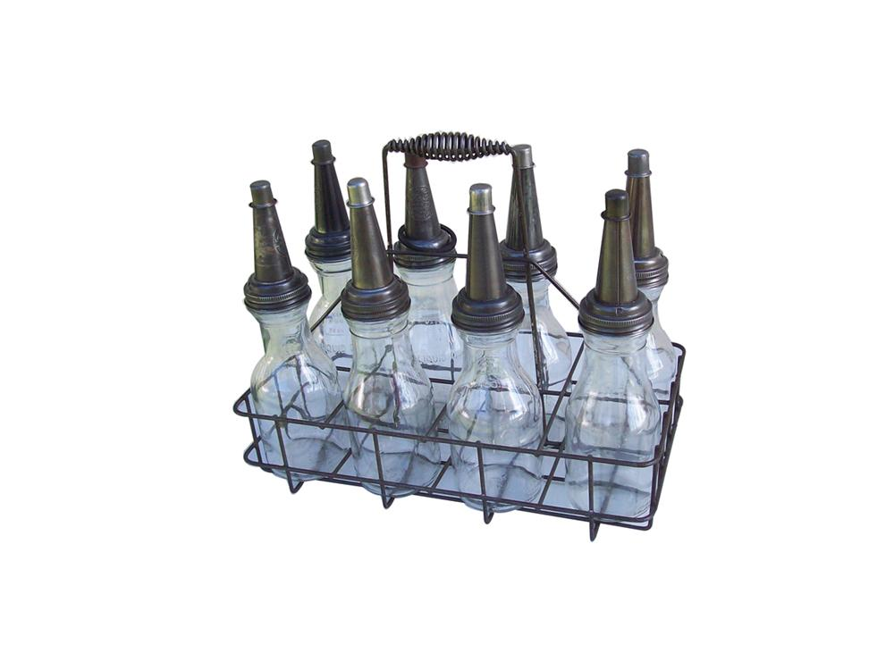 Choice 1930s-40s service station eight quart glass oil bottle rack. - Front 3/4 - 98000