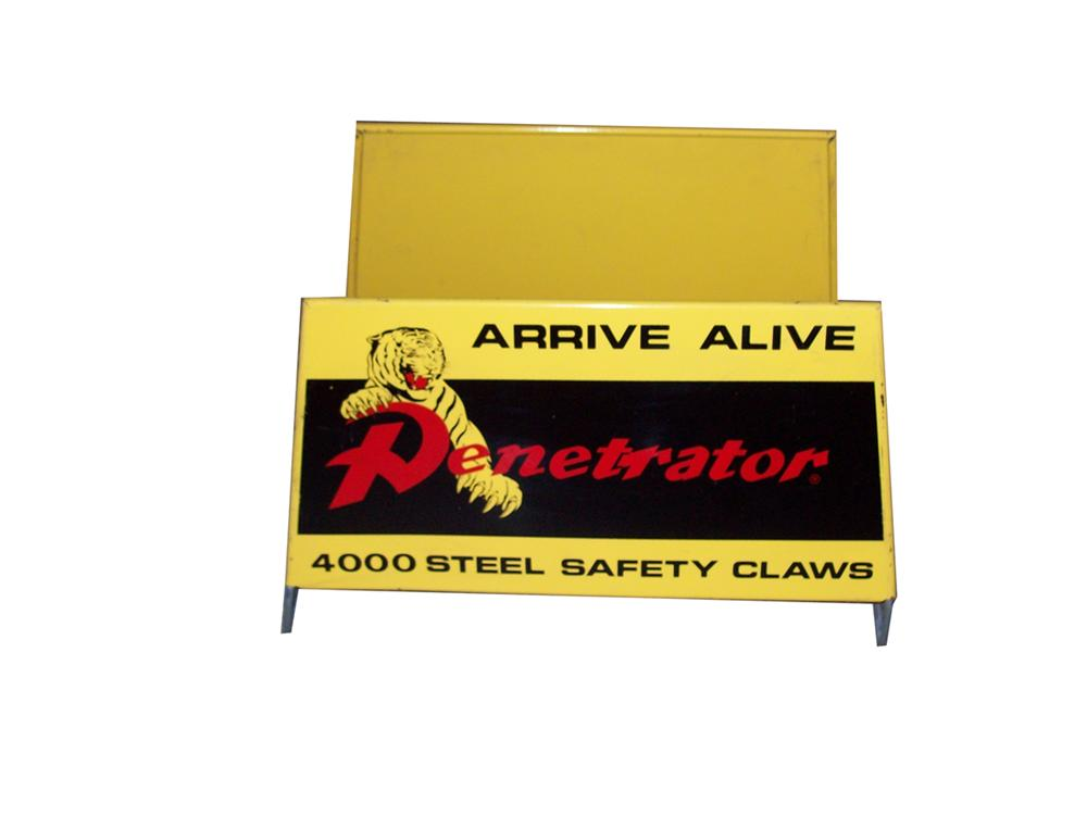 "Nifty 1960s Penetrator ""Arrive Alive"" automotive garage metal tire display stand. - Front 3/4 - 98003"