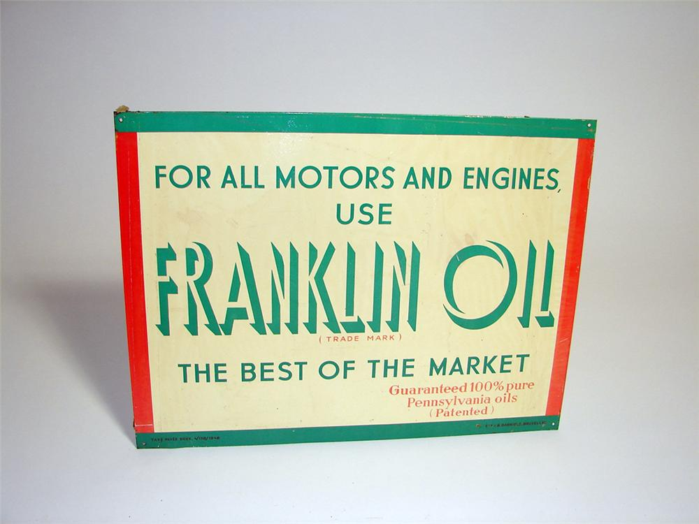 N.O.S. 1948 Franklin Motor Oil single-sided tin painted garage sign. - Front 3/4 - 98023
