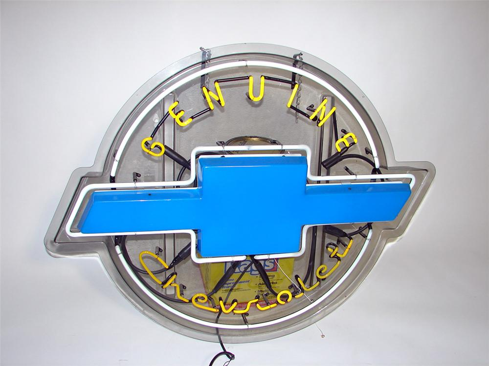 Very nice 1980s Genuine Chevrolet neon light-up dealer showroom sign with bow-tie logo. - Front 3/4 - 98025
