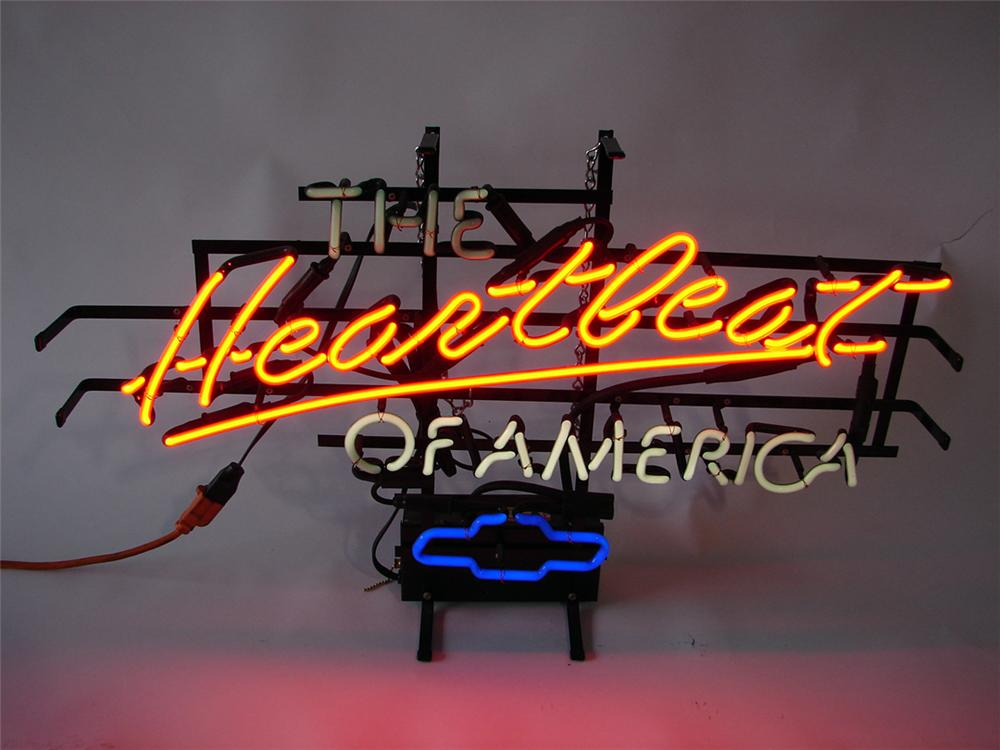 "Wonderful 1980s Chevrolet ""Heart Beat of America"" dealer showroom window neon sign. - Front 3/4 - 98026"