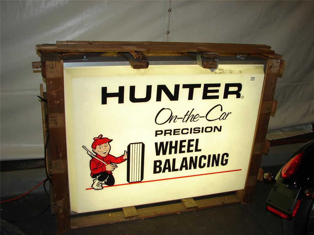 Addendum Item - Nifty vintage Hunter Wheel Balancing double-sided light-up garage sign still in the original crate - Front 3/4 - 99596