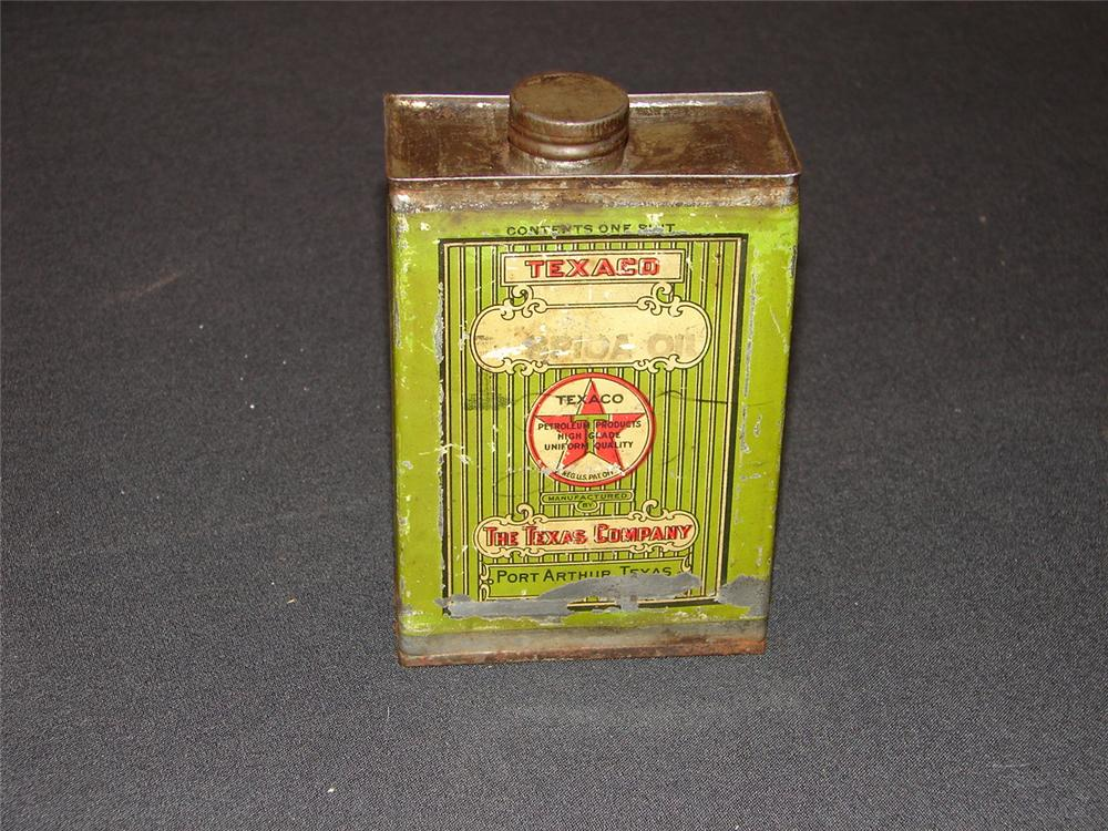 Addendum Item - Scarce 1920s Spica Oil solder seamed tin with cap. - Front 3/4 - 99604