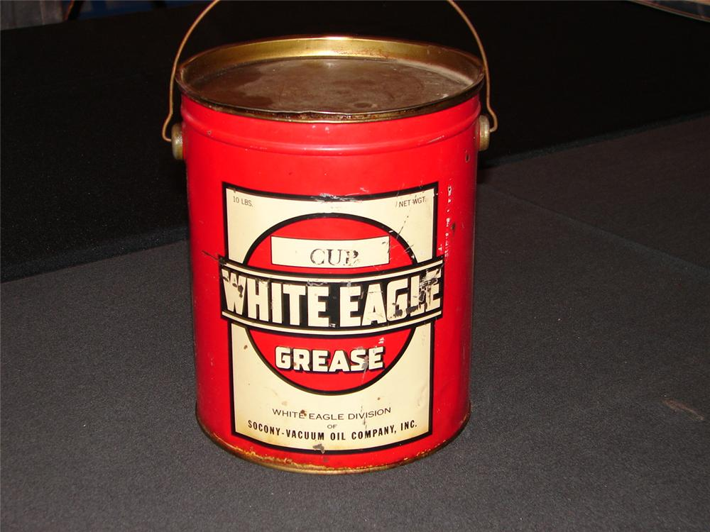 Addendum Item - Choice 1920s White Eagle five pound grease can. - Front 3/4 - 99606