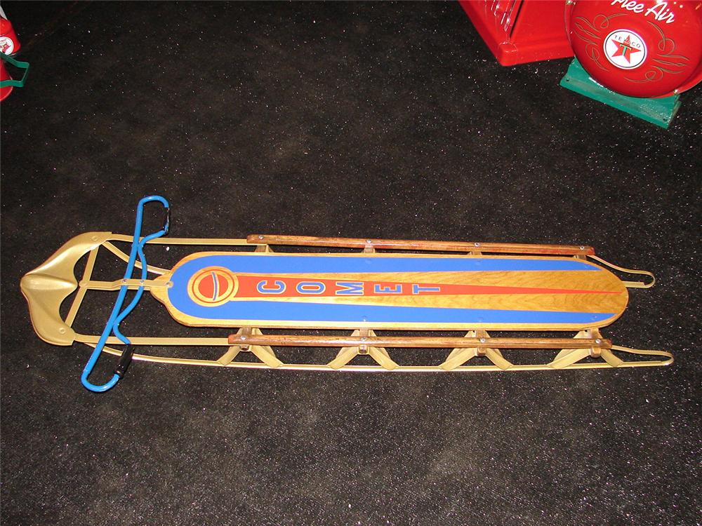 Addendum Item - Nicely restored 1930s Comet childs wooden snow sled. - Front 3/4 - 99617