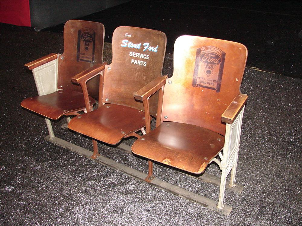 Addendum Item- All original 1930s Sid Stout Ford of Oklahoma waiting room chairs made of curly maple. - Front 3/4 - 99619