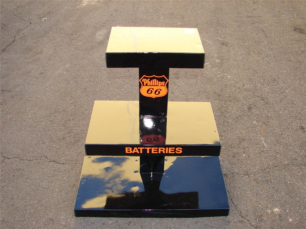 "Addendum Item - 1940s-50s restored Phillips 66 service station ""Batteries"" display stand. - Front 3/4 - 99623"