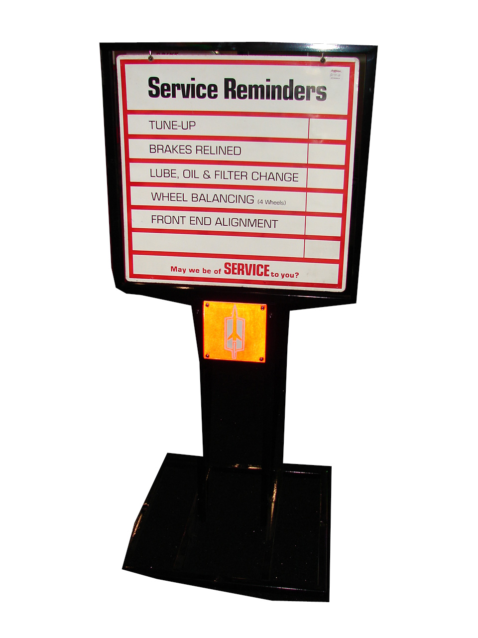 Addendum Item - 1960s-70s Oldsmobile Service Department service reminder double-sided showroom sign on stand. - Front 3/4 - 99624