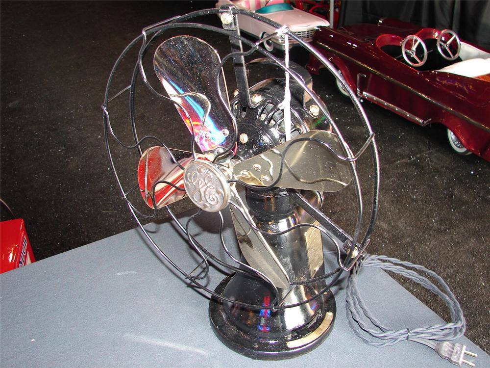 Addendum Item - Killer 1930s GE coin-operated brass hotel room fan. Fully restored and operational. - Front 3/4 - 99625