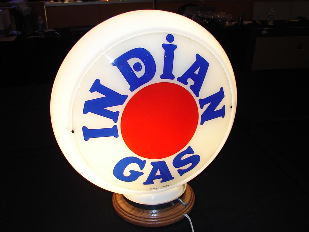 Addendum Item -Circa 1933 Indian Gasoline (Texaco) narrow bodied glass gas pump globe. Condition: 9.0+ - Front 3/4 - 99630