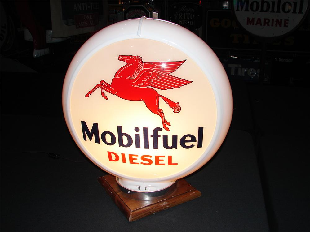 Addendum Item - Hard to find N.O.S. Mobil Fuel Diesel plastic bodied gas pump globe. - Front 3/4 - 99637