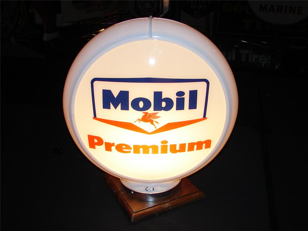Addendum Item - N.O.S. late 1950s Mobil Premium plastic bodied gas pump globe with glass lenses. - Front 3/4 - 99638
