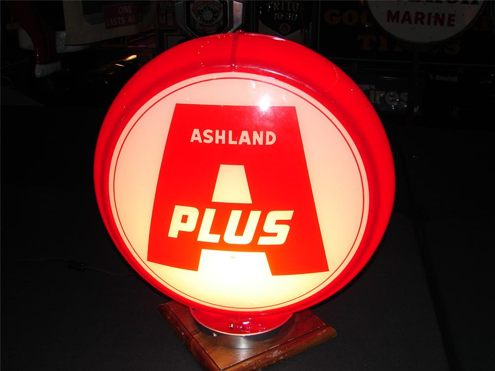 Addendum Item - Circa 1951 Ashland Oil A-Plus Gasoline plastic bodied gas pump globe with glass lenses. Condition: 9.25-9.5 - Front 3/4 - 99641