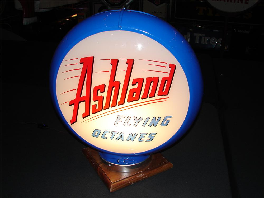Addendum Item - Terrific circa 1948 Ashland Flying Octanes Capco plastic bodied globe with glass lenses. - Front 3/4 - 99644