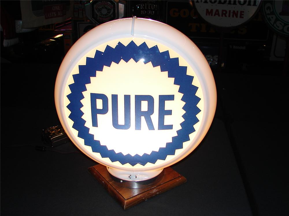 Addendum Item - Sharp circa 1950 Pure Oil plastic bodied gas pump globe with glass lenses. Condition: 9.0-9.25 - Front 3/4 - 99645