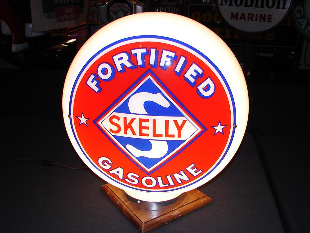 Addendum Item - Circa 1932 Skelly Fortified Gasoline wide body glass gas pump globe. Condition: 9.25-9.5 - Front 3/4 - 99646