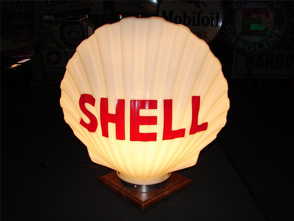 Addendum Item - Circa 1930 Shell one-piece milk glass gas pump globe. - Front 3/4 - 99648