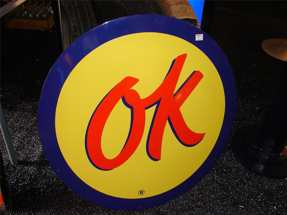 Addendum Item - N.O.S. 1950s Chevrolet OK Used Cars single-sided porcelain dealership sign. - Front 3/4 - 99653