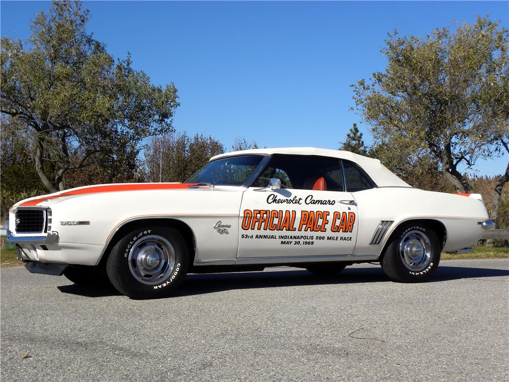 1969 chevrolet camaro indy pace car convertible side profile