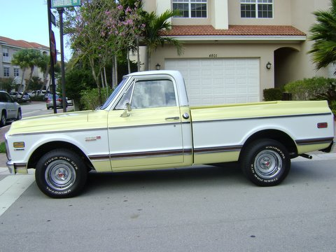 1972 CHEVROLET C-10 1/2 TON SHORT BOX PICKUP - Side Profile - 102095