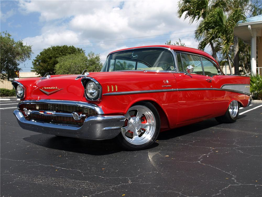 1957 CHEVROLET BEL AIR CUSTOM 2 DOOR COUPE - Front 3/4 - 102120