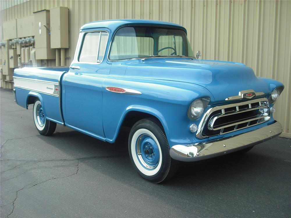 1957 CHEVROLET CAMEO PICKUP - Front 3/4 - 108245