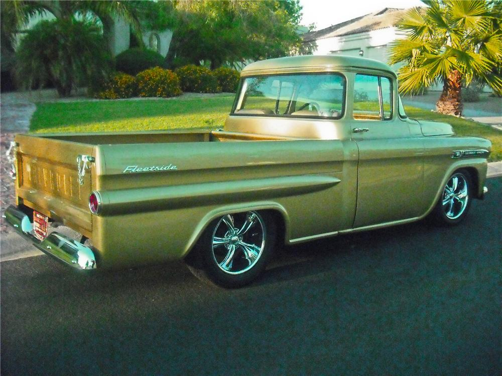 1959 CHEVROLET APACHE CUSTOM PICKUP - Rear 3/4 - 112707