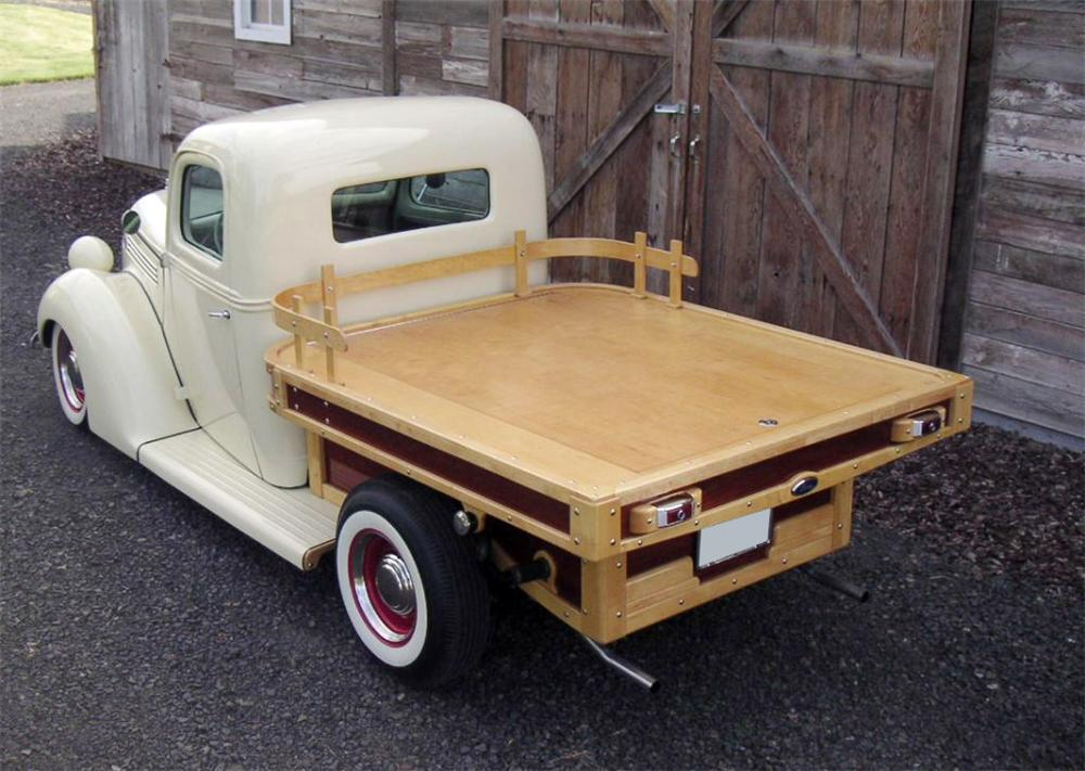 1938 FORD CUSTOM FLATBED WOODY TRUCK - Rear 3/4 - 112825