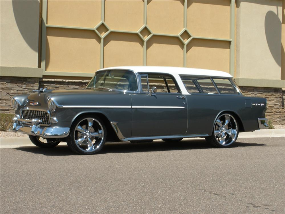 1955 CHEVROLET NOMAD CUSTOM 2 DOOR WAGON - Front 3/4 - 113234