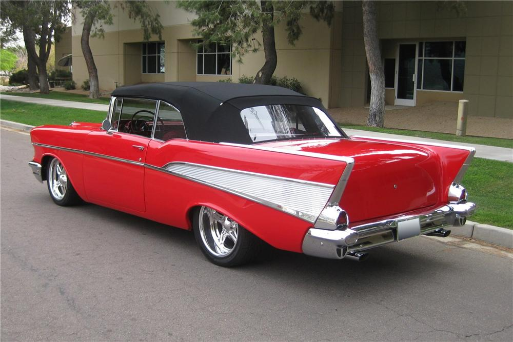 1957 CHEVROLET BEL AIR CUSTOM CONVERTIBLE - Rear 3/4 - 115962