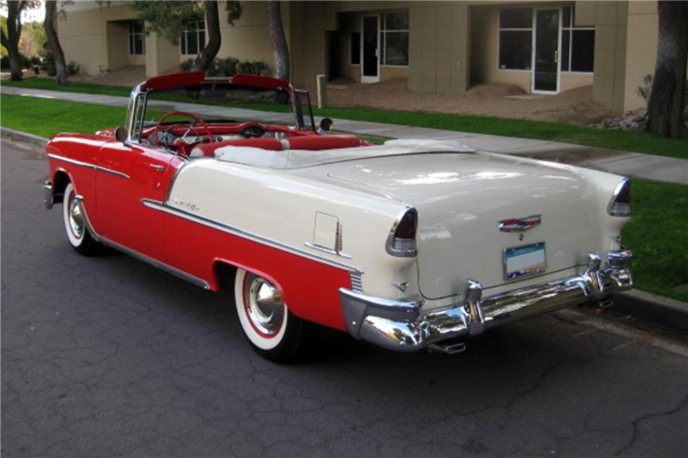 1955 CHEVROLET BEL AIR CONVERTIBLE - Rear 3/4 - 115964