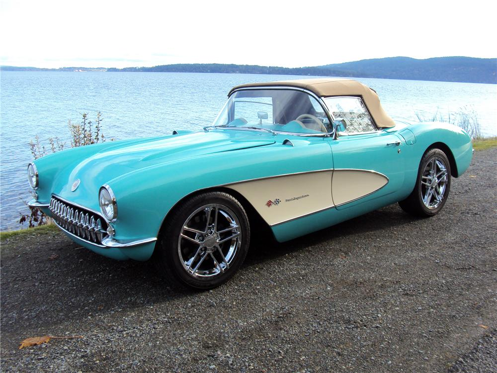 1957 CHEVROLET CORVETTE CUSTOM CONVERTIBLE - Front 3/4 - 116316