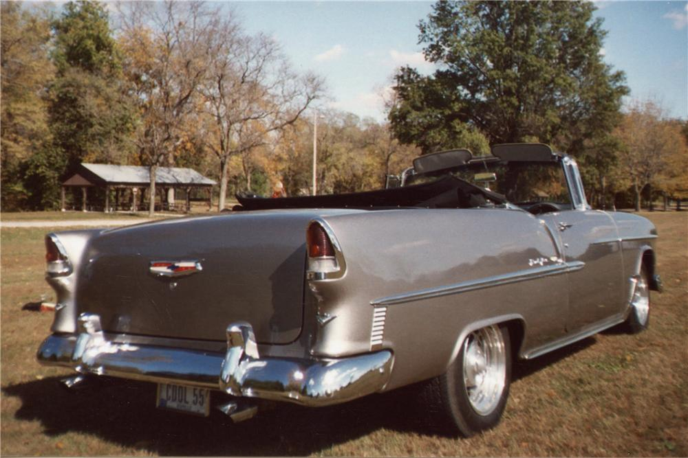 1955 CHEVROLET BEL AIR CUSTOM CONVERTIBLE - Rear 3/4 - 116355