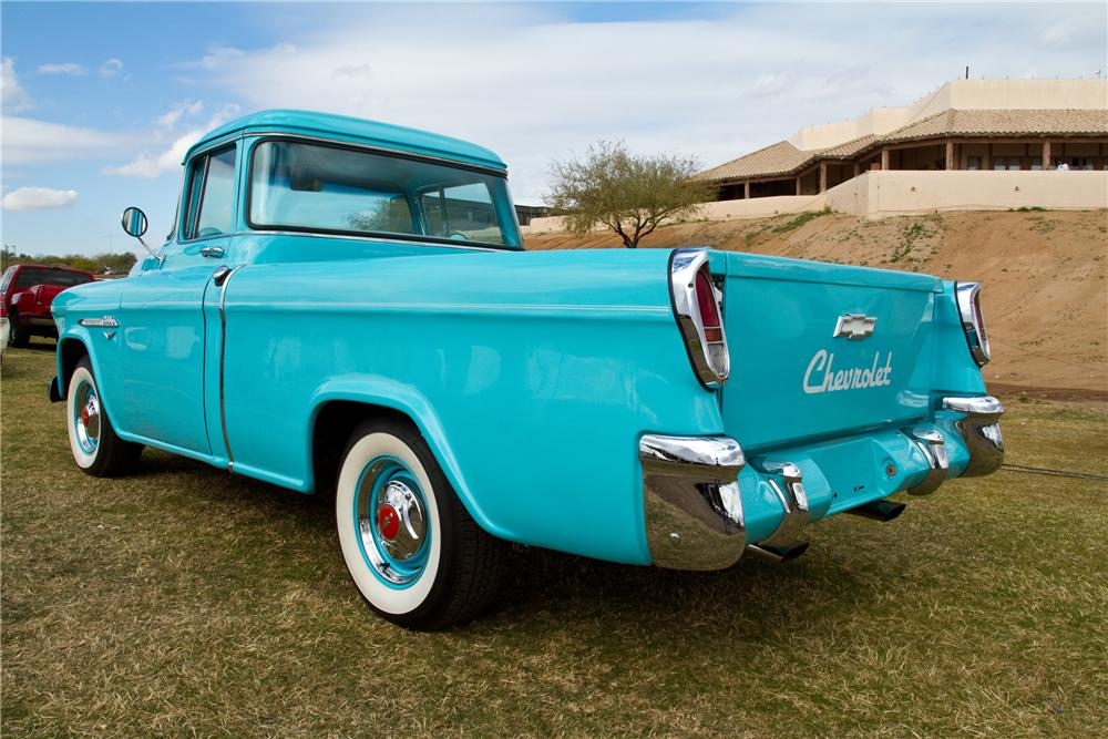 1955 CHEVROLET CAMEO CUSTOM PICKUP - Rear 3/4 - 117330