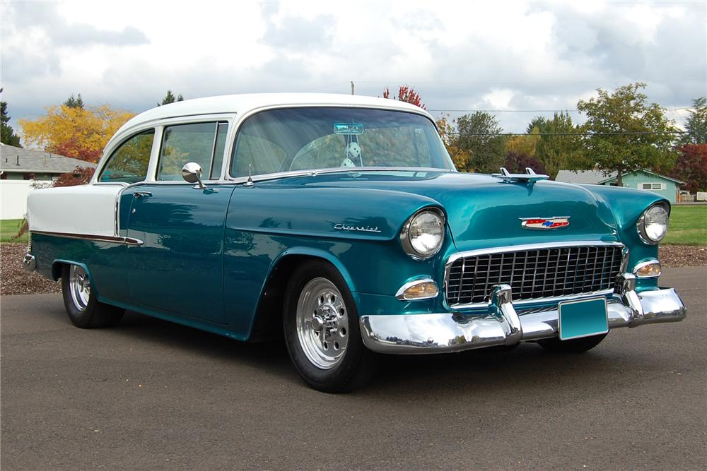 1955 CHEVROLET 210 CUSTOM 2 DOOR POST - Front 3/4 - 117441