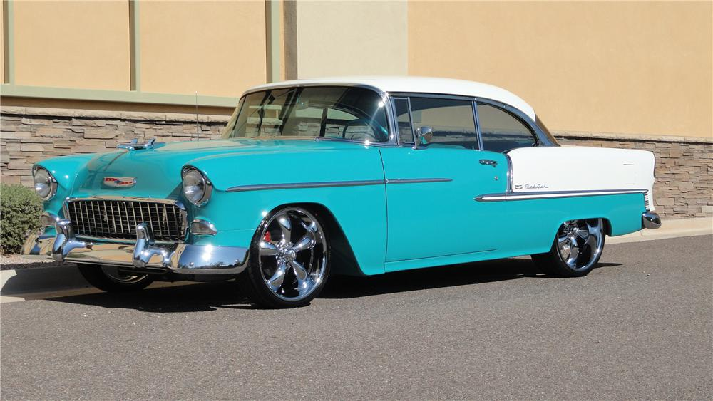 1955 CHEVROLET BEL AIR CUSTOM 2 DOOR HARDTOP - Front 3/4 - 125136