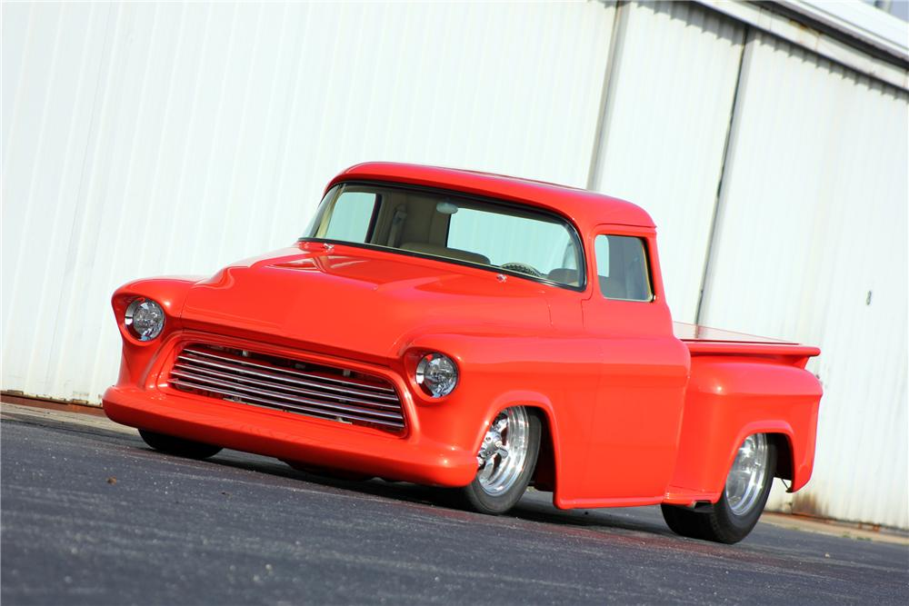 1955 CHEVROLET 3100 CUSTOM PICKUP - Front 3/4 - 125873