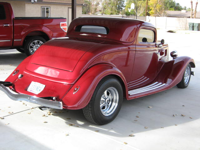 1934 FORD 3 WINDOW CUSTOM COUPE - Rear 3/4 - 130273