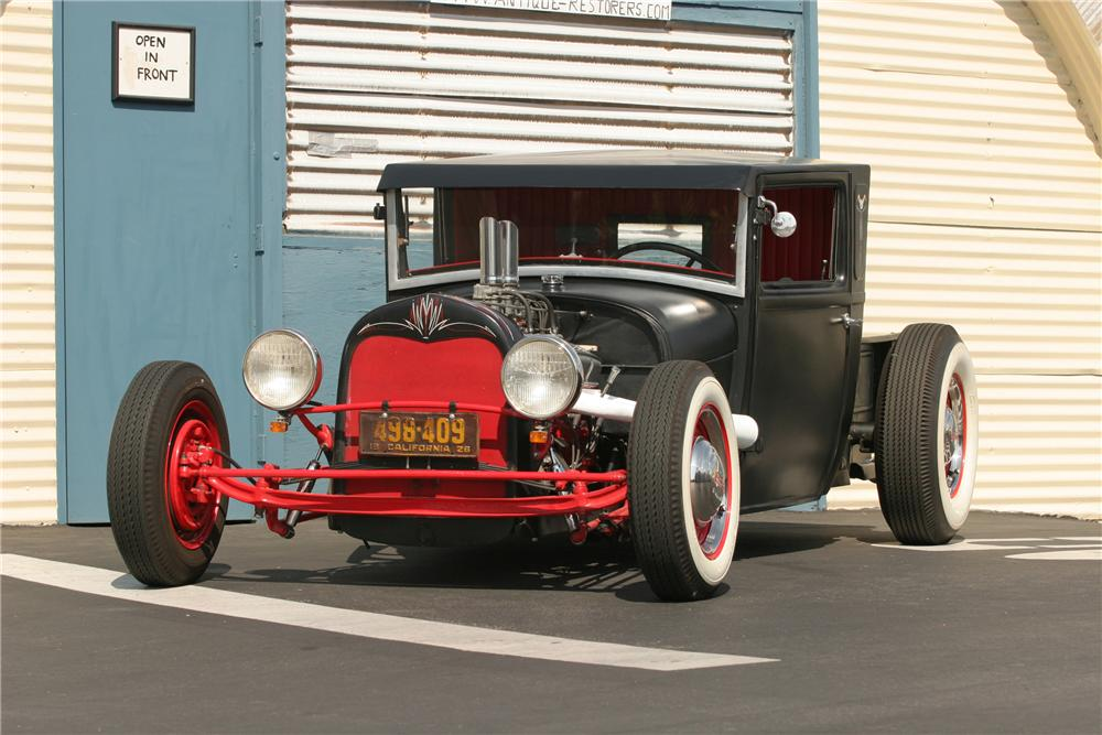 1928 FORD MODEL A CUSTOM PICKUP - Front 3/4 - 130384
