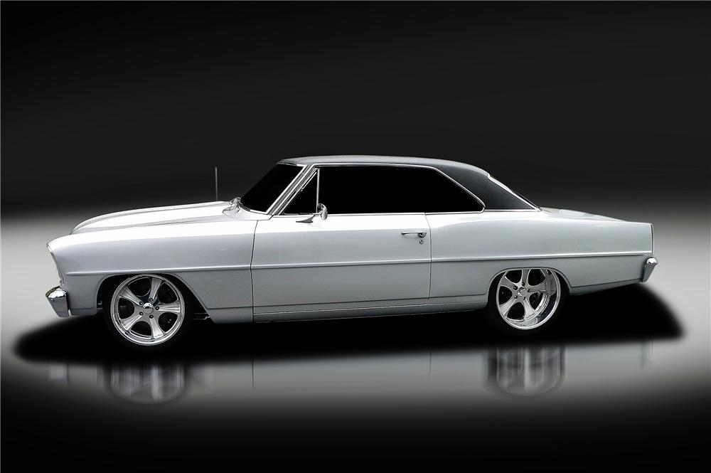 1966 CHEVROLET CHEVY II NOVA CUSTOM 2 DOOR COUPE - Side Profile - 130421