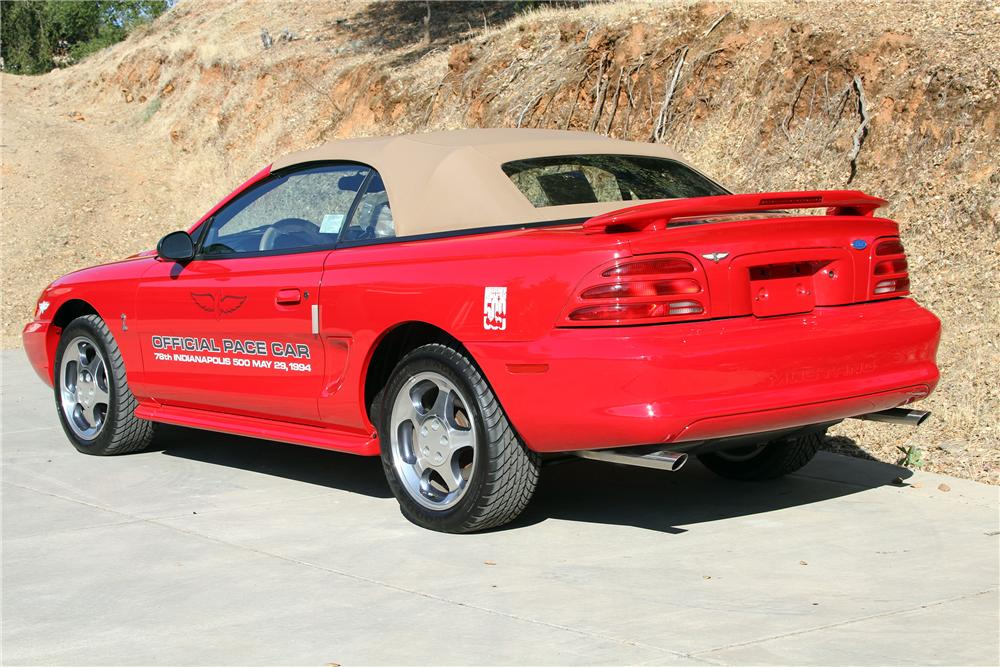 1994 FORD MUSTANG COBRA PACE CAR CONVERTIBLE - Rear 3/4 - 132703