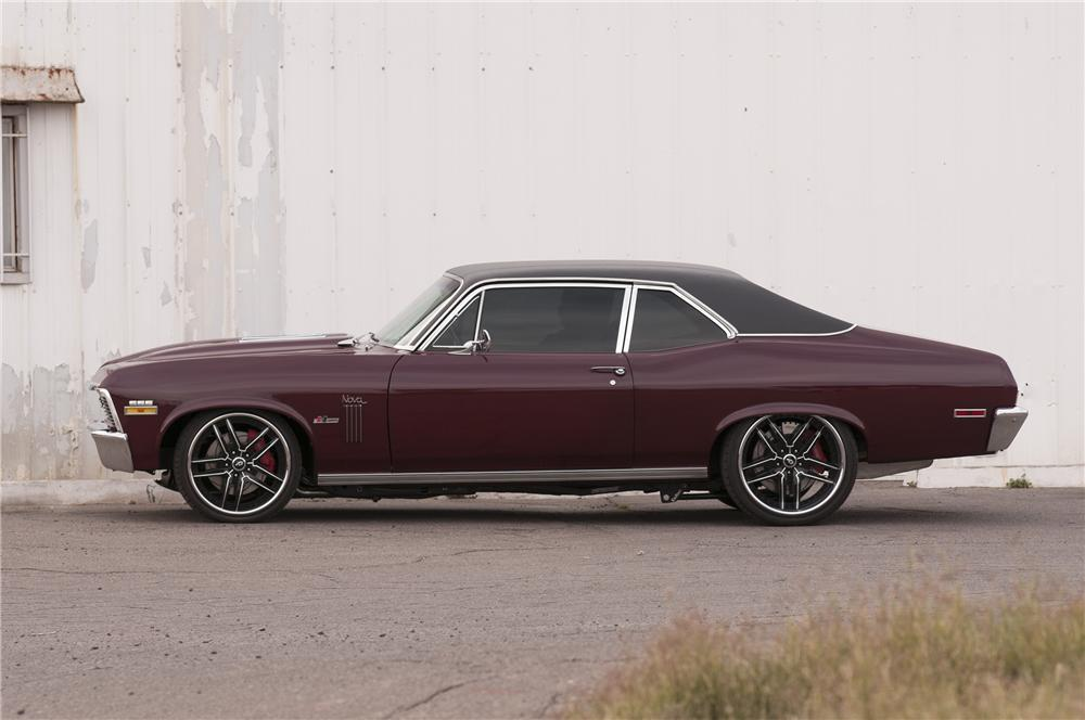 1970 CHEVROLET NOVA CUSTOM 2 DOOR COUPE - Side Profile - 133526