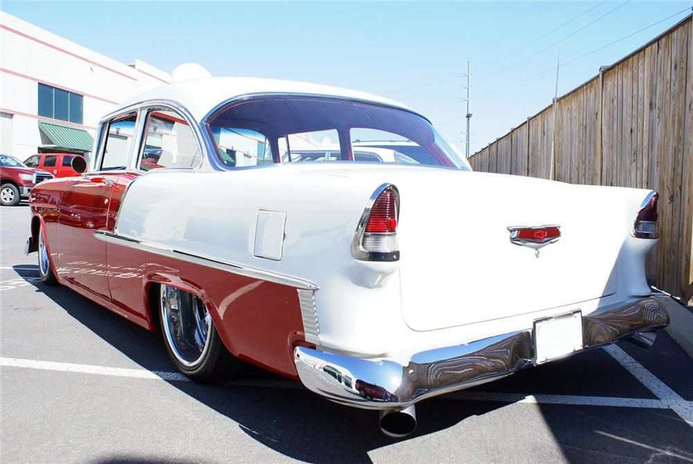1955 CHEVROLET 210 CUSTOM 2 DOOR SEDAN - Rear 3/4 - 133578