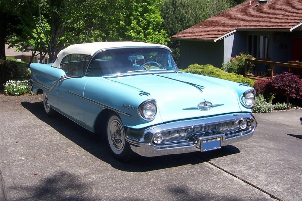 1957 OLDSMOBILE 98 CONVERTIBLE - Front 3/4 - 137787