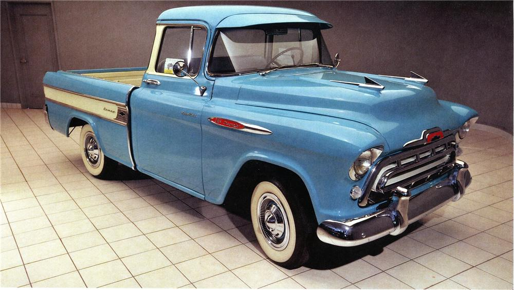 1957 CHEVROLET CAMEO PICKUP - Front 3/4 - 138024