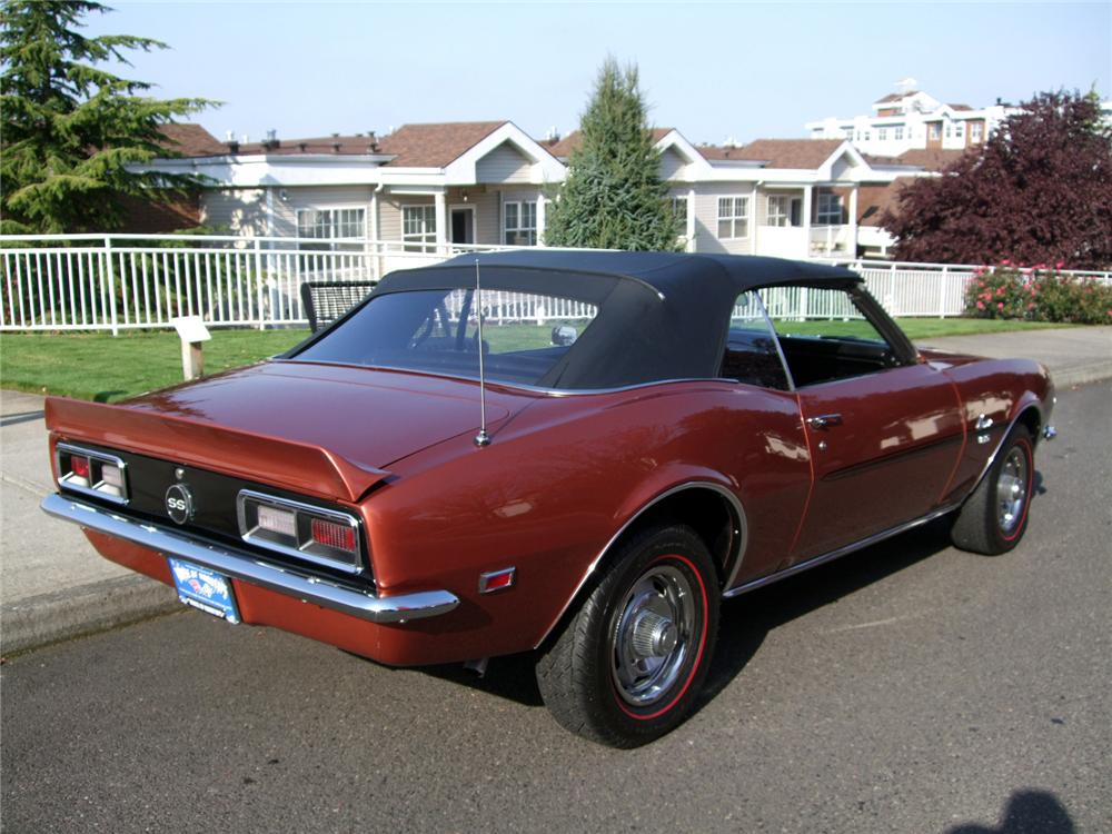 1968 CHEVROLET CAMARO SS CONVERTIBLE - Rear 3/4 - 138248