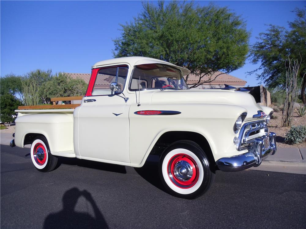 1957 CHEVROLET 3100 PICKUP - Front 3/4 - 138392