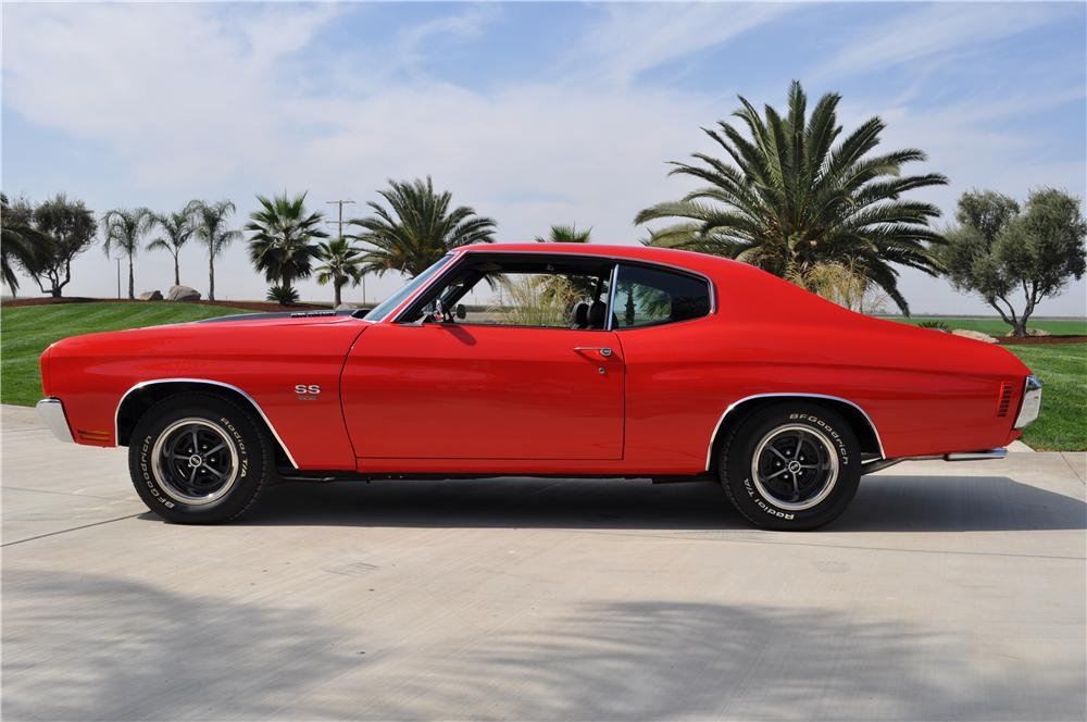 1970 CHEVROLET CHEVELLE CUSTOM 2 DOOR COUPE - Side Profile - 138520